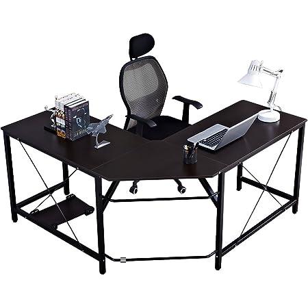 DlandHome Bureau Informatique Coin Table en Forme de L 150 + 150cm Gaming en Bois pour Ordinateur Portable Station de Travail avec Support CPU étude Table pour Maison et Bureau Noir (Marron) & Noir