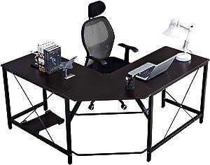 SogesHome Corner Desk Escritorio en Forma de L para computadora L (150 + 150) * W55 * H76 cm Escritorio Grande para Escritorio de Oficina, LD-Z01-BK-SH