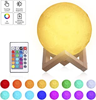 Tomshine Moon Lamp with Stand 16 Colors Moon Light LED 3D Print Nursery Lamp USB Charging Touch Remote Control 15cm 5.9 Inches Dimmable Night Lights