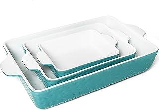 Gonioa 3 Pack Ceramic Bakeware Set,Ceramic Glaze Baking Dish Set,Rectangular Baking Pan for Cooking, Kitchen,Cake Dinner, ...