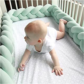 Infant Soft Pad Braided Crib Bumper Knot Pillow Cushion Cradle Decor for Baby Girl and Boy (Mint, 118