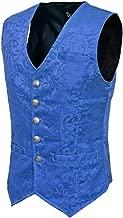 Darkrock Mens Royal Blue Brocade Vest Waistcoat Gothic Steampunk Victorian/USA Sizes