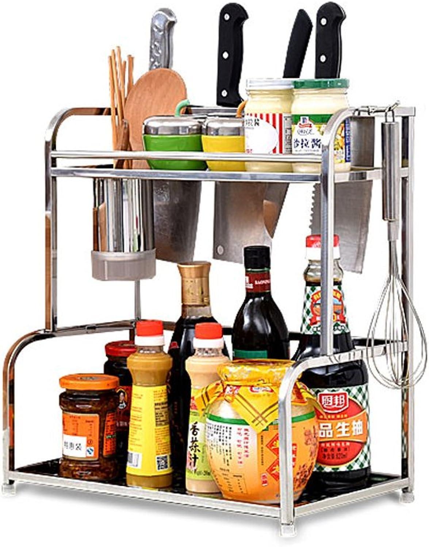 Kitchen Racks, Stainless Steel Floor Multi-seasoning Rack, Wall-mounted Kitchen Storage Supplies ( Size   L35W22H42.5CM )