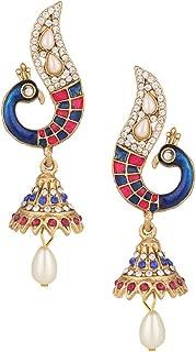 Peacock Jhumki Rani Pink Blue Bollywood Jewelry Girls Jhumka Kundan Indian Earrings for Women