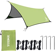 YUEDGE 13 Ft Rain Fly Traps Waterproof Camping Tent Tarps Hammock Rain Fly Shelter Sunshade Rope Stakes, Army, 10' x 13', XL=L400XW300 cm, Green