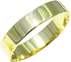 18金 リング レディース メンズ 4mm幅 指輪 K18 シンプル ピンク ゴールド イエロー 幅広 (イエローゴールド, 12)