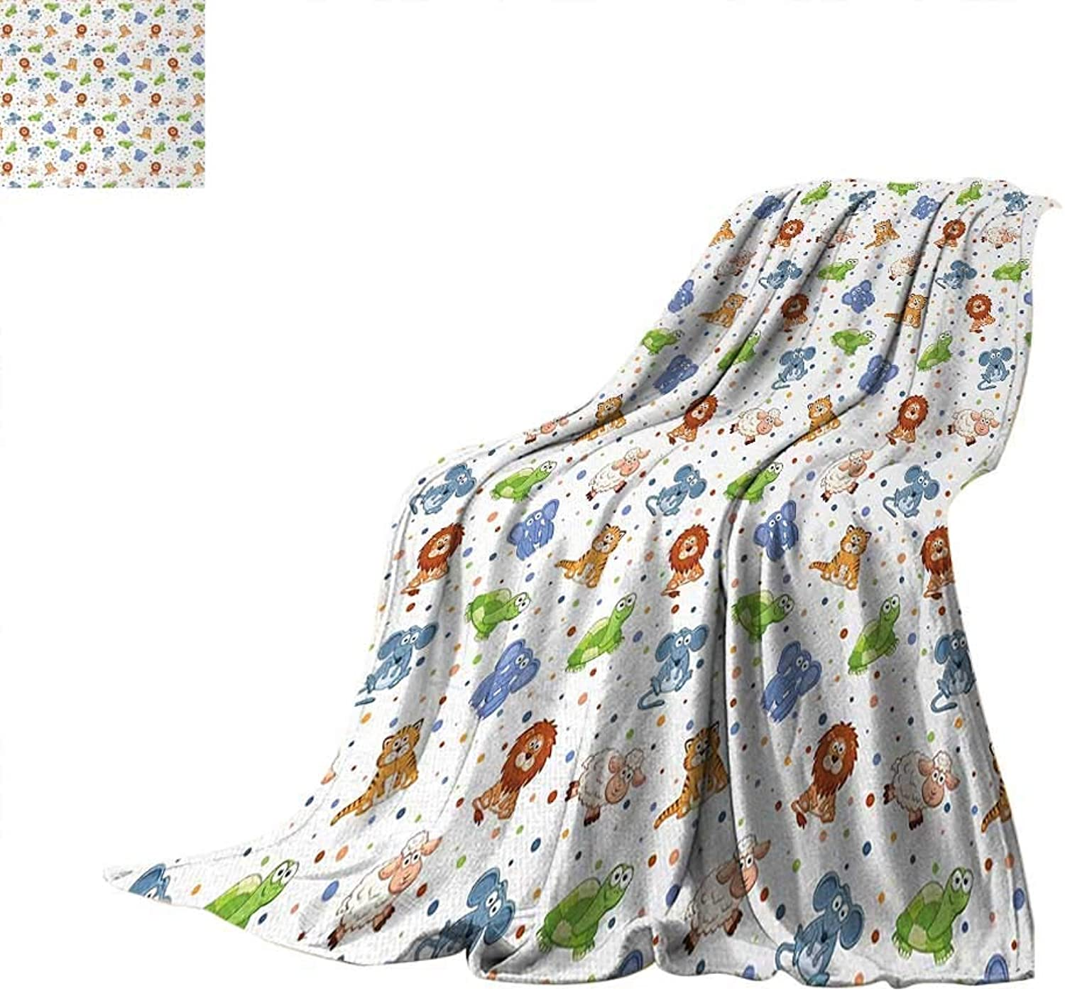 VAMIX Animal Digital Printing Blanket Funny Kids Cartoon Characters Cat Lion Mouse Elephant Turtle Sheep colorful Dots Print Artwork Image 62 x60  Multicolor