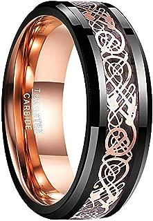 Men's 8mm Black Carbon Fiber Tungsten Carbide Wedding Ring Polished Finish Comfort Fit Size 7-12