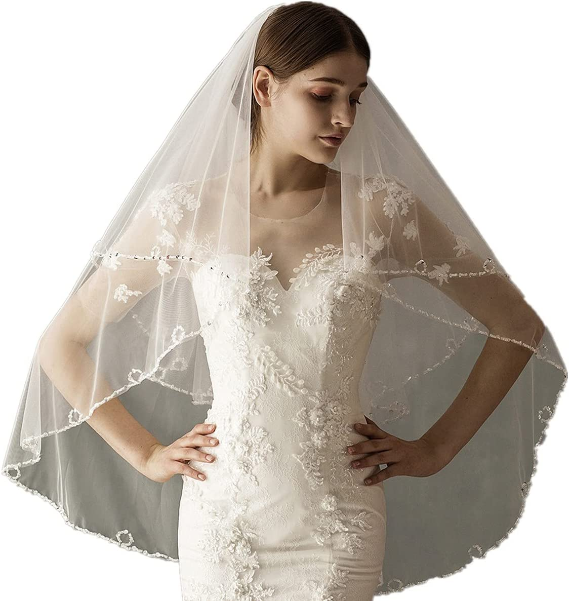 JZJZ Be super welcome Wedding Veil Women's Short 2 Edge Lace Beaded Tul Soft Rapid rise Tier