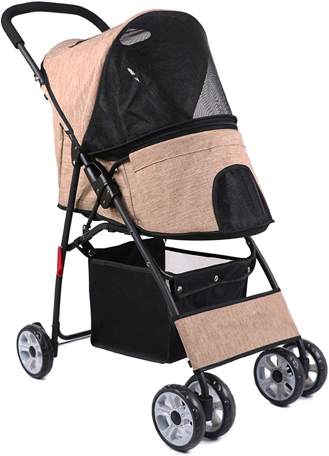 IREENUO Pet Travel Stroller Cat Dog 4 Wheels 360 Degree redatable Easy Assemble LightWeight Durable Pet Trolley Puppy Foldable Carrier Suitable for 20 kg (Khaki)