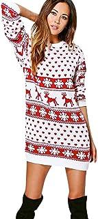 Auifor, Vestido Mini suéter de Manga Larga con Cuello Redondo y Estampado navideño para Mujer(A-Blanco/Large)