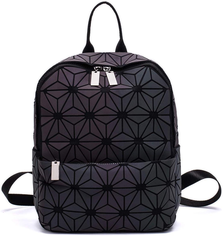 Women Geometric Luminous Backpack Fashion Bags Lingge Flash Travel School College Rucksack NO.6S