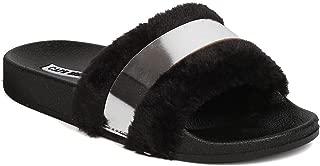 Cape Robbin Women Mixed Media Metallic Band Furry Open Toe Footbed Sandal GC60