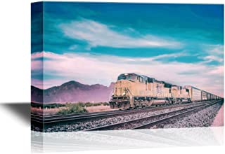 wall26 - Canvas Wall Art - Freight Train Running Travelling Arizona Desert - Gallery Wrap Modern Home Decor | Ready to Hang - 32x48 inches