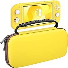 MoKo Carrying Case for Nintendo Switch Lite, Travel Case Hard Shell EVA Tough Storage Bag Holder for Nintendo Switch Lite Console, Accessories & Game Cards - Yellow & Brown