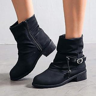 Zapatos de mujer de caña corta, botas de equitación con cordones, zapatos planos, zapatos retro, botas centrales antidesli...