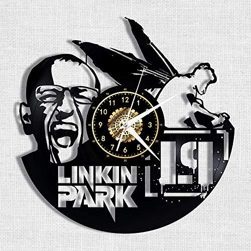 CNLSZM 3D Vinyl Wanduhr Retro Schallplatte Uhr Kreative Cd Wanduhr Dekoration Linkin Park Band Kunst-No LED