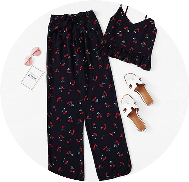 AllAboutUs Cherry Print Ruffle Cami & Pants PJ Set Multicolor Spaghetti Strap Knot Sleepwear