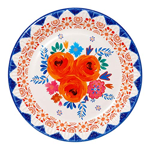 Talking Tables Inspired by India Paper Fully Recyclable Pretty Floral Plates 12 Pack 23cm, Spice PLTES