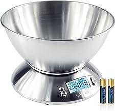 Camry Balance de Cuisine Alimentaire Numérique 5 kg En Acier Inoxydable avec Bol Amovible, Ecran Rétroéclairé, Thermomètr...