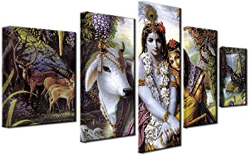 ZHFFYY Canvas Painting 5 Panel Canvas HD Prints Living Room Pictures Frame 5 Pieces India Myth Krishna Vishnu Painting Wall Art Animal Poster Home Decor