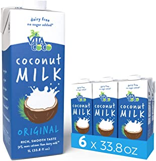 Vita Coco Coconut Milk, Unsweetened Original - Plant Based, Dairy Free Milk Alternative - Gluten Free, Soy Free, and So Delicious - Perfect for Cereal, Coffee, Smoothies - 33.8 Ounce (Pack of 6)