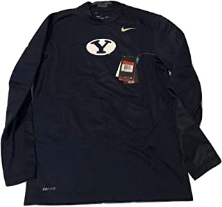 BYU Cougars Shield Pro Combat Hyperwarm Fitted Navy Crew Shirt (Large)