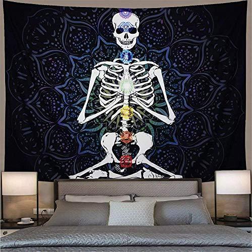 Tapiz hogar dormitorio decoración de la pared Chakra blanco y negro meditación esqueleto psicodélico Mandala colgante de pared blanco