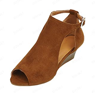 Women's Wedge Fish Mouth Sandals AmyDong Summer Casual Ankle Buckle Peep Toe High Heels Roman Shoes