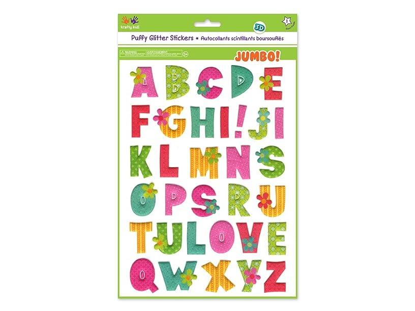 Krafty Kids KC768E Glitter Puffy Jumbo Stickers, Lovely Letters