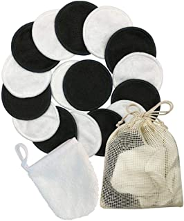 Foonee Reusable Makeup Remover Pads, 12/16 Pack Washable Eco Friendly Organic Bamboo Cotton Pads with Laundry Bag for All Skin Types - Super Soft