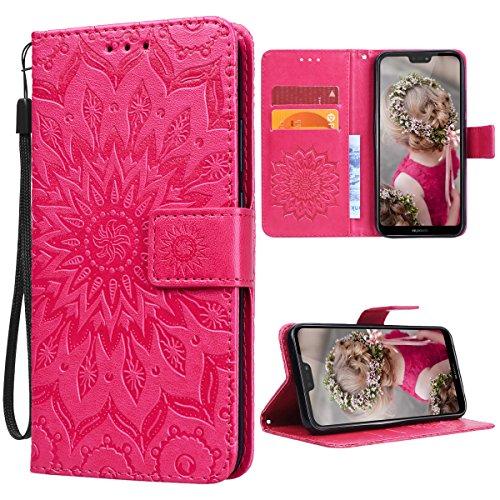 VemMore Kompatibel für Huawei P20 Lite Hülle Handyhülle Schutzhülle Leder PU Wallet Flip Hülle Bumper Lederhülle Ledertasche Blumen Muster Klapphülle Klappbar Magnetisch Dünn Silikon Sonnenblume - Rot