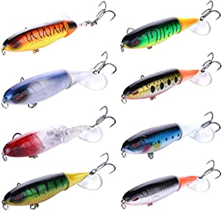 Clear Fayer 8 PCS Whopper Pencil Popper Topwater Fishing Lure Artificial Bait Hard Plopper Soft Rotating Tail Fishing Tackle