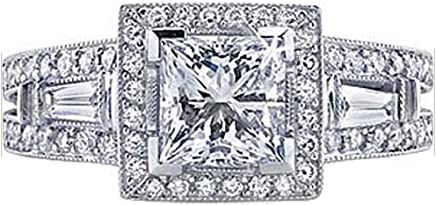 Dazzlingrock Collection IGI Certified 1.82 Carat (ctw) 14K White Gold Princess, Round Tapered Diamond Bridal Ring (Size 8)