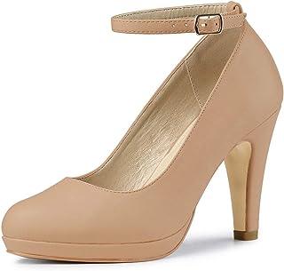 Allegra K Women's Round Toe Stiletto Heel Ankle Strap Pumps