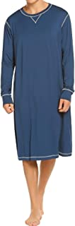Sleepwear Men's Nightshirt Long/Short Sleeve Pajamas Comfy Loose Long Sleep Shirt S-XXL