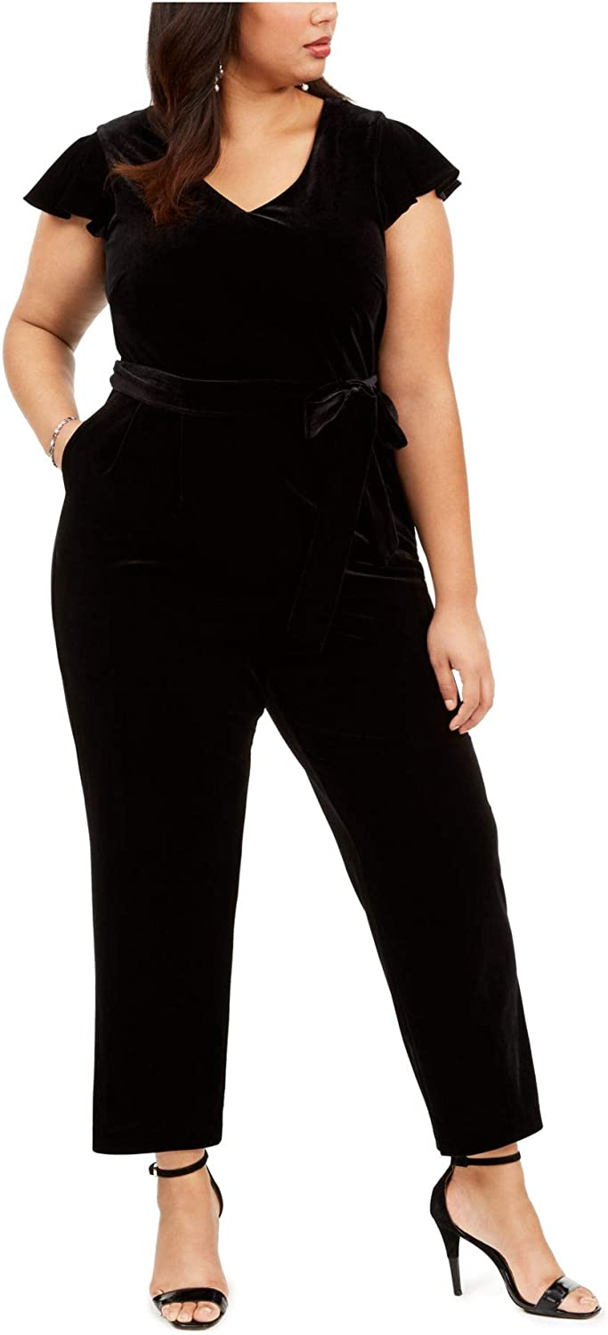 Jessica Howard Womens Black Belted Solid Short Sleeve V Neck T-Shirt Boot Cut Jumpsuit Size 24W