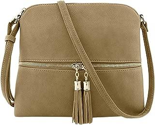 Waymine Women's Leather Shoulder Bag Solid Tassel Crossbody Bag Hand Bag Square Messenger Bag
