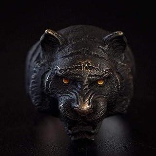 Anello Tigre Nera in Argento 925, Occhio di Tigre in Ro Puro 24 Carati, Naso di Tigre in Rame Rosso, Naso in Oro Rosa 18 C...