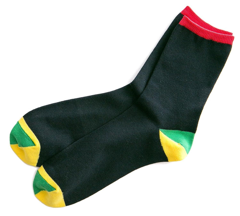 日本製靴下 親子でカラー靴下 レディース クルーソックス ブラック 22-24cm