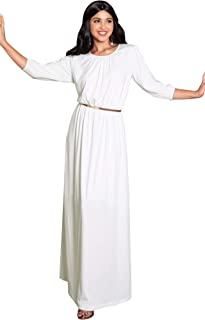 Womens Long 3/4 Sleeve Pleated Vintage Solid Fall Winter Maxi Dress