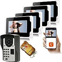 Tuya Smart 7 Inch WiFi Video Deurbel, Intercom, Vingerafdruk Wachtwoord Video Deurtelefoon, 4 Monitor Display + 1080P Nach...