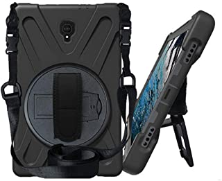 KIQ Galaxy Tab A 10.5 (2018) [T590 / T595 / T597] Case Shockproof Heavy Duty Military Armor Hybrid Case Cover Kickstand for Samsung Galaxy Tab A 10.5 2018 SM-T590 (Shield Black)