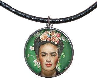 Ciondolo in acciaio inossidabile, 30mm, cordoncino di cuoio, fatto a mano, illustrazione Frida Feminist 2