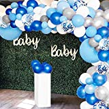 GuassLee 135 Pieces Balloon Garland Arch Kit - White Blue Silver and Blue Confetti Latex Balloons for Baby Shower Wedding Birthday Party Centerpiece Backdrop Background Decoration