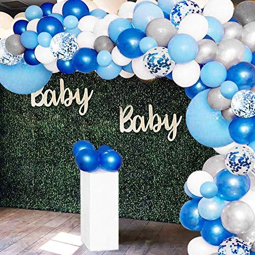GuassLee 135 piezas globo guirnalda arco kit – globos de látex confeti blanco azul plata y azul para baby shower, boda, fiesta de cumpleaños, centro de mesa de fondo, decoración de fondo