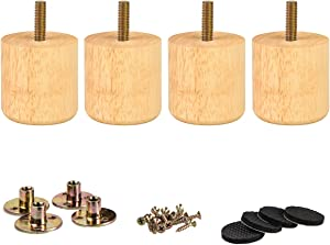 2 inch / 5cm Wooden Furniture Legs, La Vane Set of 4 Cylinder Solid Wood Furniture Replacement Feet with Mounting Plate & Screws for Sofa Couch Bed Cabinet Ottoman