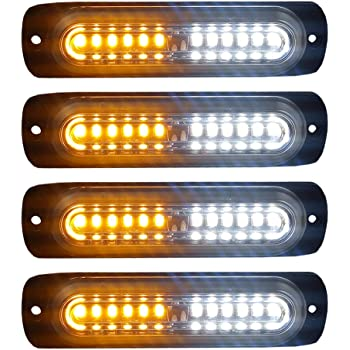 Linkitom 4 in 1 Surface Mount Grill Light Head Sync Feature LED Car Truck Emergency Beacon Warning Hazard Flash Strobe Light with 16 Different Flashing,12//24V 6 LED Amber White