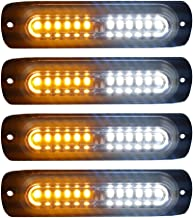 4pcs Ultra Slim 12-LED Surface Mount Grille Flashing Strobe Lights for Truck Car Vehicle Mini LED Light-Head Emergency Beacon Hazard Warning lights 12-24V (Amber/White)