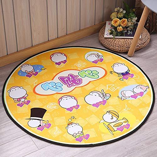Round Kids Play Mat, Kids Cartoons Playhouse Play Mat, Children Tent Super Soft Carpet Floor Mat For Living Room Bedroom Tent Pad 0930 (Color : Monkey)